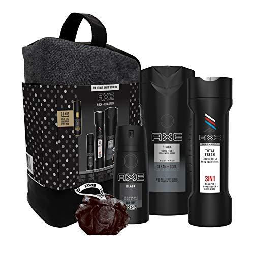 AXE 6-Pc Black & Fresh Shower Gift Set with BONUS Trial Deo Body Spray (Body Spray, Body Wash, 3 in 1 Shampoo + Conditioner + Body Wash, Shower Bag, Pouf)
