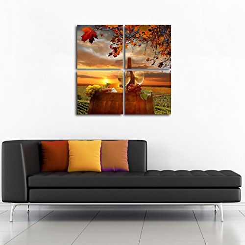 Gardenia Art - Wine Canvas Wall Art Pictures Abstract Prints Drinking Paintings Stretched and Framed Modern Paintings for Living Room and Bedroom Decoration, 12x12 inch per Piece, 4 pieces by Gardenia Art (Image #5)