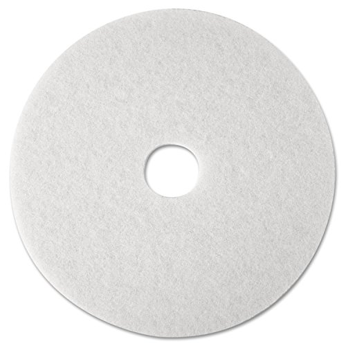 3M 08476 Super Polish Floor Pad 4100, 12'' Diameter, White (Case of 5) by 3M