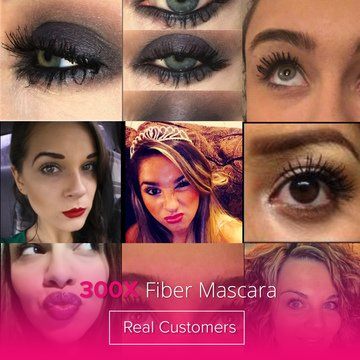 3D Fiber Mascara 300X by Lash Factory - Black, Waterproof, Natural and Hypoallergenic Volumizing Mascara for Lengthening and Thickening Lashes