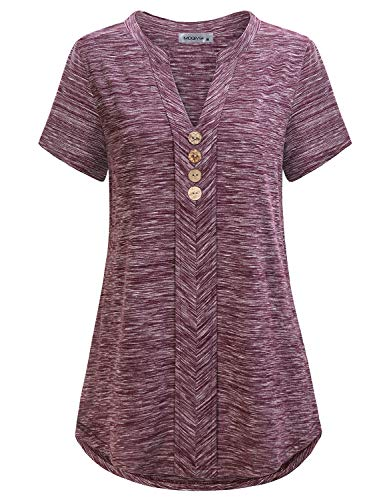 (MOQIVGI Fancy Tops,Woman Short Sleeve Spring Summer Fashion Clothes Cute Casual Notch Neck Regular Fit Career Blouse Shirts for Work Ladies Marled Maroon Shirttail High Low Hem V Tunic X-Large)
