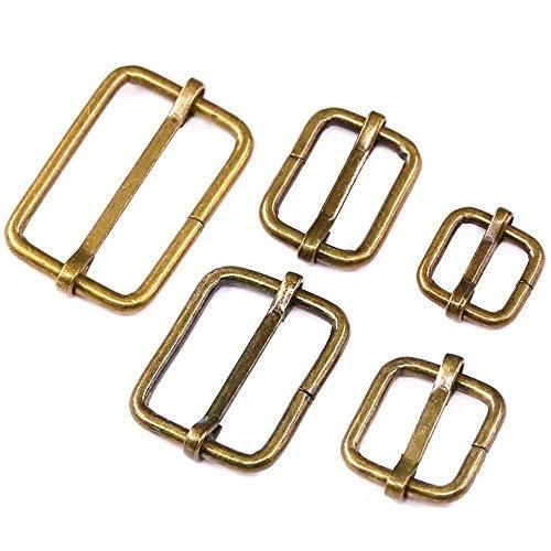 Swpeet 50 Pcs Bronze Metal Rectangle Adjuster Triglides Slides Buckle, Roller Pin Buckles Slider Strap Adjuster for Belt Bags DIY Accessories - 13mm / 15mm / 20mm / 25mm/ 35mm