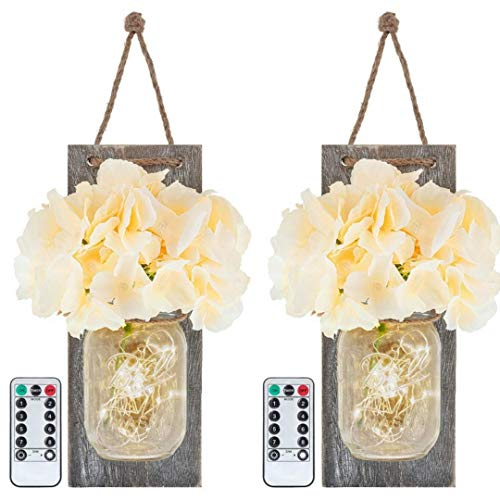 HontiqueCo Rustic Mason Jar Sconce Set | 2 Sconces with Silk Hydrangea Flowers, Fairy LED Lights & Remote Controls | Hanging Farmhouse Decorations, Kitchen, Living Room, Bathroom & Bedroom Wall Decor