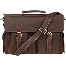 Access Denied Mens RFID Blocking Briefcase Messenger Leather Vintage