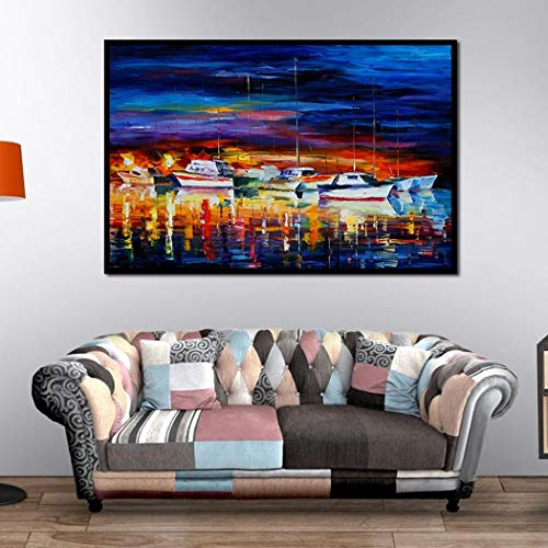 Kizaen Art Wall Decor Canvas Wall Art, Original Designed Painting on Canvas Oil Painting Poster Print Without Frame, Cruise Ship 11.8x7.9