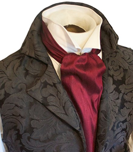 (Elegantascot Men's Handmade Regency Cravat Pure Dupioni Silk Ascot Tie Maroon)