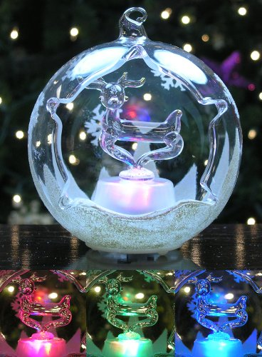 (BANBERRY DESIGNS LED Reindeer Christmas Ornament Color Changing Lights Hand Painted Glitter Snowflakes 3.5