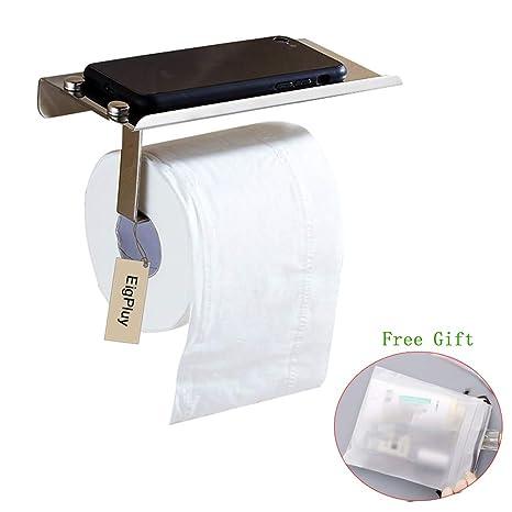 EigPluy Portarrollo para Papel Higiénico, Baño Toalla de Papel Dispensador con el Teléfono Móvil Estante