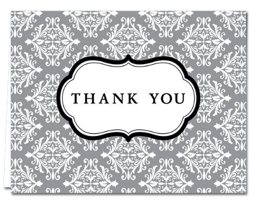 (Damask - Gray- 36 Thank You Cards - Blank Cards - Gray Envelopes Included)