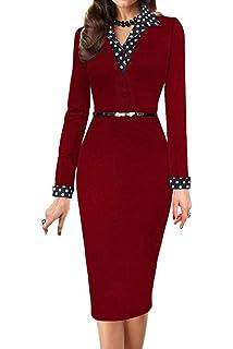 Minetom Femmes Polka Dot Patchwork Turn Down Collar Bureau des Affaires  Cocktail Party Robe avec Ceinture a3130e8e6d0c