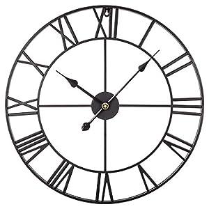 ZUJI Reloj de Pared Vintage 60CM Reloj de Pared Grande XXXL Reloj Silencioso Reloj Decoración para Hogar Cocina Salon Oficina Comedor Habitación (Negro)