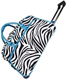 Blue Zebra 21-inch Carry On Rolling Upright Duffle Bag, Bags Central