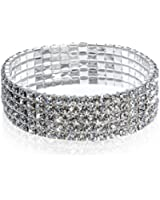 Five Row Clear Crystal Silvertone Stretch Bracelet
