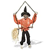 Choose Prextex Animated Sitting Grim Reaper Skull for Best Halloween Decoration Prop! You get: One 2.75 Ft. Tall Animated, Grim Reaper Dressed in Shabby Scare Crow Attire, Sitting on a Plastic Branch- Grass Rope attached to Branch for Easy Hanging. R...