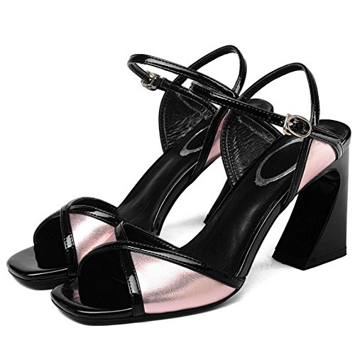 Sandales à Ouvert Pink Talon Femmes Bloc TAOFFEN Bout Oxwtg8t