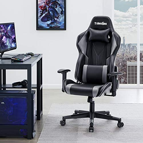 Tribesigns Gaming Chair Racing Office Computer Ergonomic Video Game Chair High-Back Adjustable Swivel Task Chair with 2D Armrest, Headrest and Lumbar Support E-Sports Massage Chair