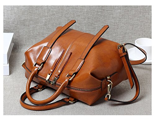 Bag Brown Handbag Ms Leather Retro Wax Oil Handmade Bag Leather Boston Shoulder SHINING KIDS Messenger xOqw6Yawg