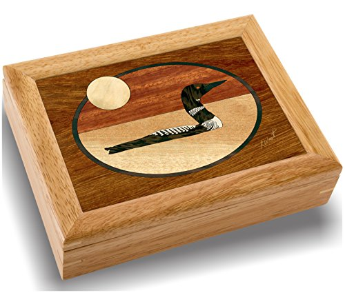Wood Art Loon Box - Handmade in USA - Unmatched Quality - Unique, No Two are the Same - Original Work of Wood Art. A Bird Gift, Ring, Trinket or Wood Jewelry Box (#2143 The Loon 6x8x2) (Watch Her Diving)