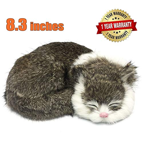 (SAVERSMALL Lifelike Sleeping Cat,Realistic Cat,Fur Kitten,Tabby Cat Toy,Kitty Figurine,Home Decor,Photo Prop,Furry Animal, for Alzheimer Disease,Dementia Memory Loss Older Mom Dad Grandma Grandpa)