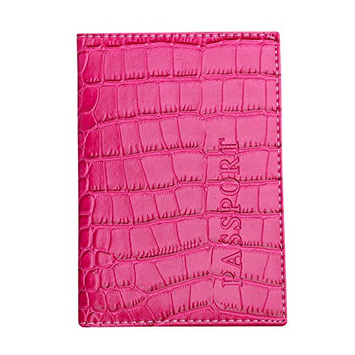 Price comparison product image Passport Holder Organization Cover Case Soft PU Leather Travel Wallet Protector ID Business Card (Hot pink)
