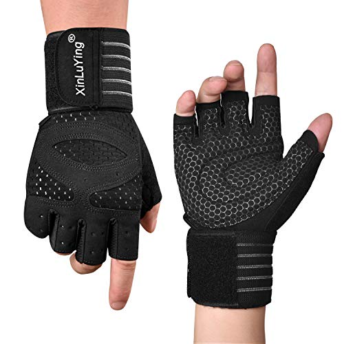 Fitself Weight Lifting Gloves Mens Fitness Exercise Wrist Support Protection Breathable Gloves for Gym Powerlifting Workout Strength Training