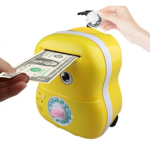 Just Us Big Eyes Cartoon Trolley Electronic Password Piggy Bank with Music ,Yellow Electronic Trolley