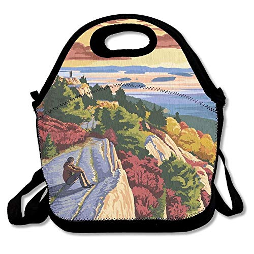 (JenGoo Acadia National Park, Maine - Cadillac Mountain Lunch Tote Bag Portable Picnic Lunch Box Food Container)
