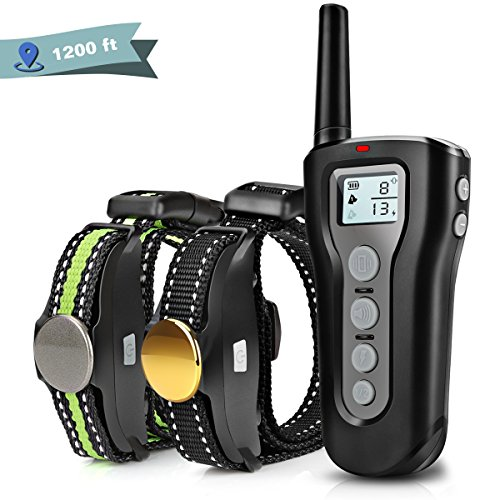 Boniten Dog Training Collar with Remote for 2 Dogs, 100% Waterproof Rechargeable Shock Collar with Beep/Vibration/Electric Shock Modes for Medium Large Dogs(10-100 lbs)[2018 Upgraded] (1200ft) by Boniten