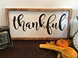 Thankful Sign, Wood Thankful Sign, Thanksgiving Decor, Rustic Wall Decor, Farmhouse Wooden Sign