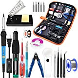 handskit Soldering Iron Kit, Soldering Iron, 60w 110v Soldering Equipment with Adjustable Temperature Welding Tool and 5pcs Iron Tips, Solder Sucker, Soldering Iron Stand, Solder Wire, Tweezer