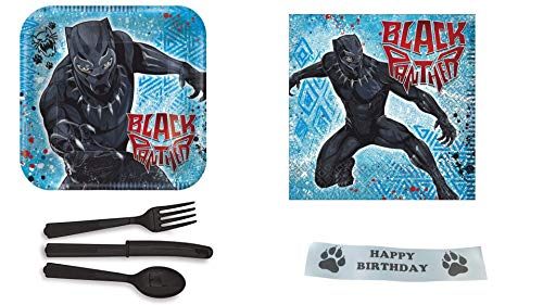 Black Panther Party Supplies Bundle With Plates, Napkins, Plastic Ware and Printed Paw -
