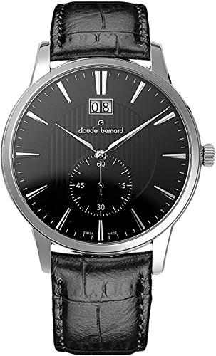 Claude Bernard Men's 64005 3 NIN Classic Gents Analog Display Swiss Quartz Black Watch