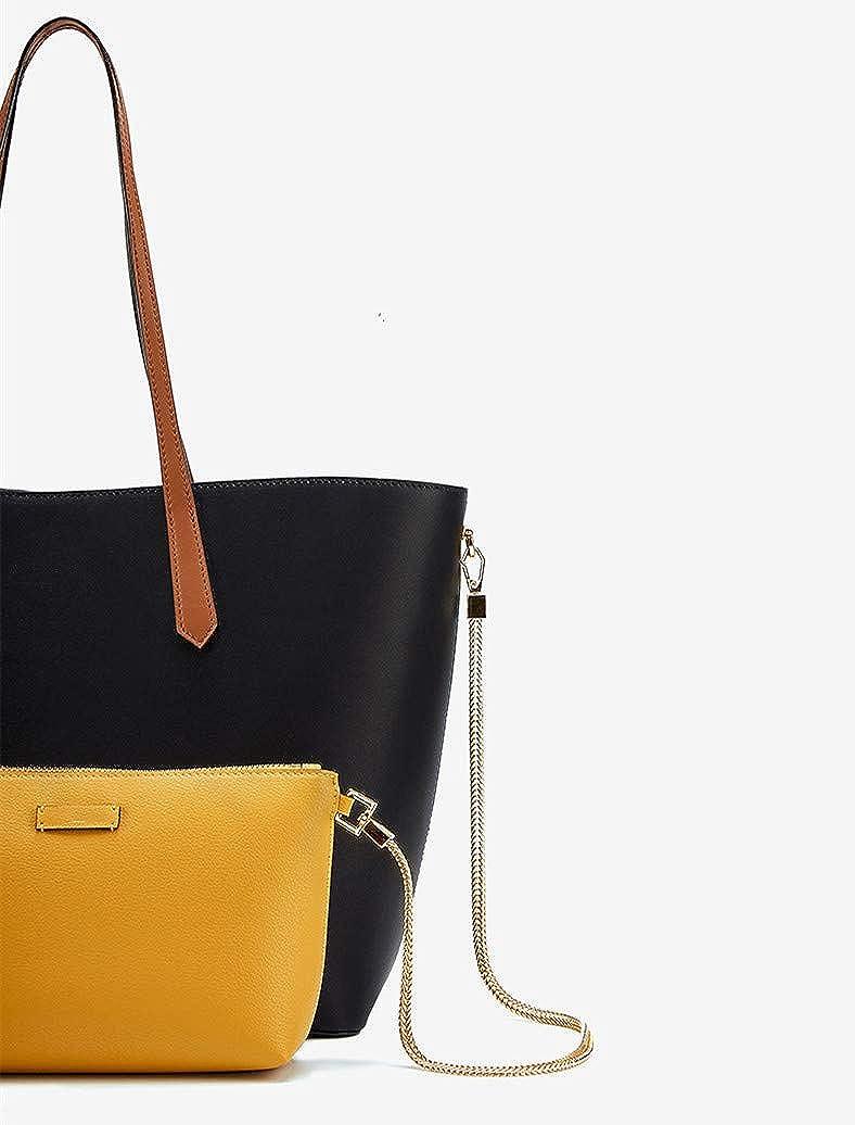 YANGPANGZI Nuova borsa minimalista in pelle tot per donna marea portatile di grande capacità con tracolla monospalla marea Meteor Black