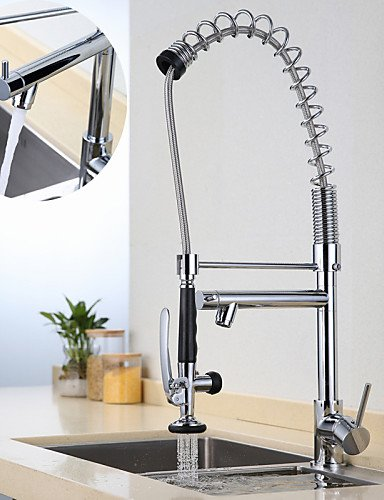 Royal-Kitchen Faucet Contemporary Pullout Spray Brass Chrome 2 ...