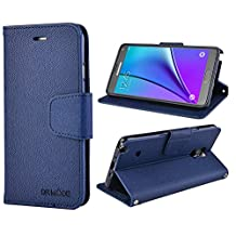 Samsung Galaxy Note 4 Leather Case, Note4 Wallet Case, Flip Cover with Card Slot, Magnetic Closure, Hand Strap and Stand Function for Samsung Galaxy Note4 (Dark Blue)