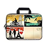 Retro Laptop Carrying Bag Sleeve,Neoprene Sleeve Case/Postcards from Italy Hawaii Paris Exotic Places