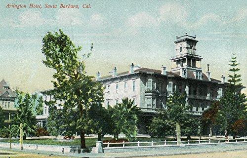 Santa Barbara, California - Exterior View of the Arlington Hotel (12x18 Art Print, Wall Decor Travel Poster) - Hotel Santa Barbara California Art