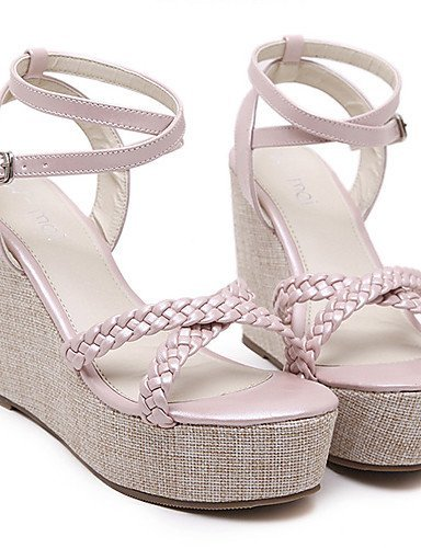 ShangYi Women's Shoes Leatherette Wedge Heel Open Toe Sandals Party & Evening / Dress Pink / Almond Pink BOC2EUScZx