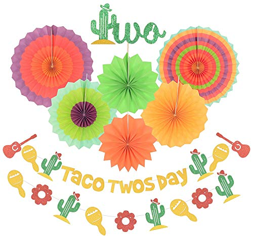 Taco TWOsday Birthday Decoration Taco Twosday Cactus Party Decorations, Gold Glittery Two Cake Topper, Mexican Fiesta Themed Second Birthday Party Decorations, Cinco de Mayo, 2nd Birthday Supplies