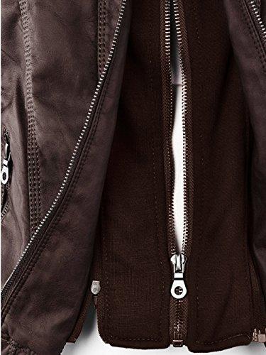 capucha FANTIGO cuero Bomber Zip Vintage Mujeres PU invierno Biker Café Up con Chaquetas abrigo Outwear de Classic HHnYrqx