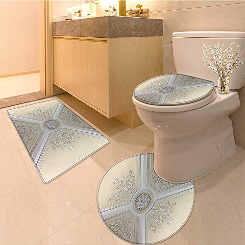 Miki Da 3 Piece Toilet mat set ceiling of the augustus room in winter palace saint petersburg 3 Piece Shower Mat set
