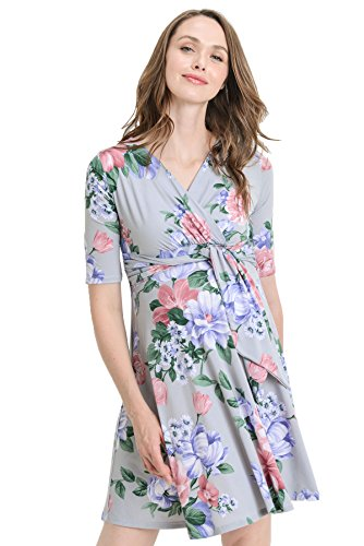 8d7dae08d6f Hello MIZ Flower Print V-Neck 3 4 Sleeve Baby Shower Front Tie Wrap  Maternity Dress (Small