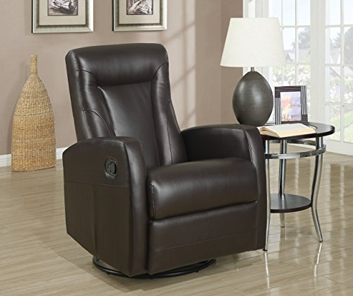 Donco Trading Donco Trading Company D8082BR Brown Swivel Rocker Recliner by Donco Trading