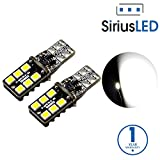 SiriusLED 2835 Chipset Extremely Bright Single Panel Canbus Error Free LED Festoon Bulbs for Car Interior License Plate Dome Side Marker Courtesy T10 168 192 194 2825 W5W 6000K Xenon White
