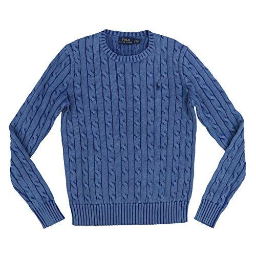 (Polo Ralph Lauren Womens Cable Knit Crew Neck Sweater (X-Small, Polo Blue))