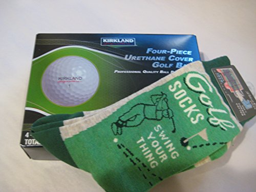 kirkland-signature-four-piece-urethane-cover-golf-balls-1-pair-of-blue-q-golf-socks-swing-your-thing