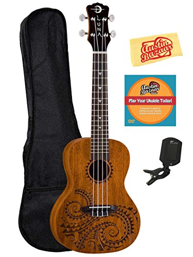 Luna Tattoo Mahogany Concert Ukulele Bundle with Gig Bag