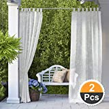 RYB HOME Linen Look Semi Sheer Curtains for Outdoor Patio/Yard, Tab Loop Top Privacy Sheer Curtains, Light Filter Volie for Porch, with 2 Free Ropes, Width 54 x Length 96 Inch, Set of 2