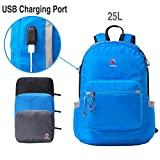Crofull Foldable Backpack Waterproof Lightweight Travel 25L Daypack Small With USB for Outdoor Sports Cycling Camping Blue