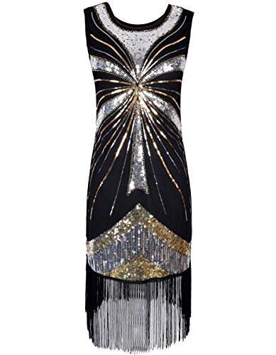 PrettyGuide Women's 1920s Vintage Beads Sequin Fireworks Fringed Flapper Gatsby Dress – Small, Silver